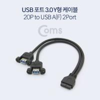 Coms USB 포트 3.0 Y 케이블 / 20P to USB A(F) 2Port / 30cm / 검정